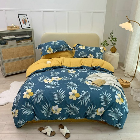wholesale multicolor flower leaves printing brushed bedding four-piece set nihaojewelry  NHBWJ401574's discount tags