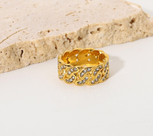 wholesale gold-plated hollow twisted stainless steel ring Nihaojewelry NHJIE401478's discount tags