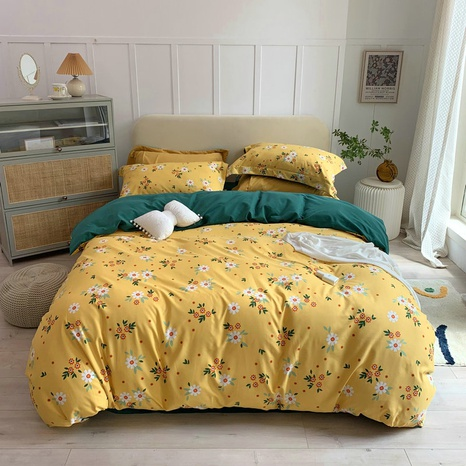 wholesale small daisy pattern printing brushed bedding four-piece set nihaojewelry  NHBWJ401573's discount tags