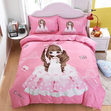 wholesale cartoon pink princess print brushed bedding four-piece set nihaojewelry  NHBWJ401572's discount tags