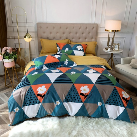 wholesale plaid stripe dots flower printing brushed bedding four-piece set nihaojewelry  NHBWJ401571's discount tags