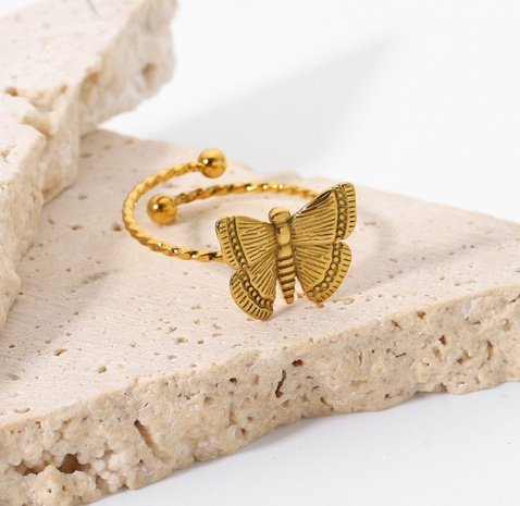 wholesale gold-plated stainless steel butterfly ring Nihaojewelry NHJIE401500's discount tags