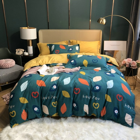 wholesale geometric pattern flower letter printing brushed bedding four-piece set nihaojewelry  NHBWJ401570's discount tags