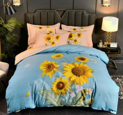 wholesale sunflower printing brushed bedding four-piece set nihaojewelry  NHBWJ401541's discount tags