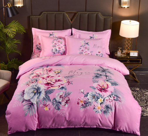 wholesale pink rose printing brushed bedding four-piece set nihaojewelry  NHBWJ401543's discount tags