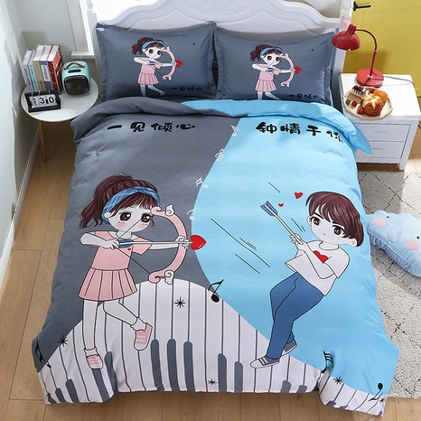 wholesale cartoon figure couple contrast color pattern printing bedding four-piece set nihaojewelry  NHBWJ402135's discount tags