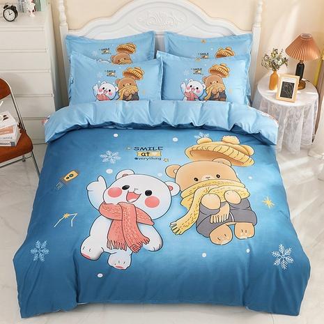 wholesale cartoon polar bear snowflake pattern printing bedding four-piece set nihaojewelry  NHBWJ402132's discount tags