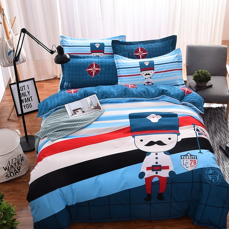 wholesale cartoon figure contrast color stripe pattern printing bedding four-piece set nihaojewelry  NHBWJ402134's discount tags