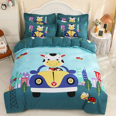 wholesale cartoon cow driving car pattern printing bedding four-piece set nihaojewelry  NHBWJ402129's discount tags