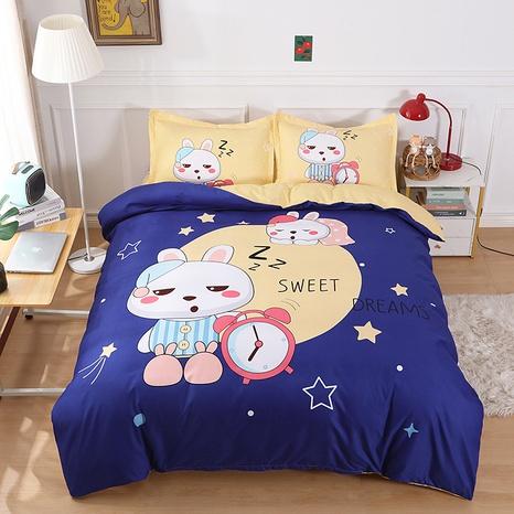 wholesale cartoon sleeping rabbit pattern printing bedding four-piece set nihaojewelry  NHBWJ402127's discount tags