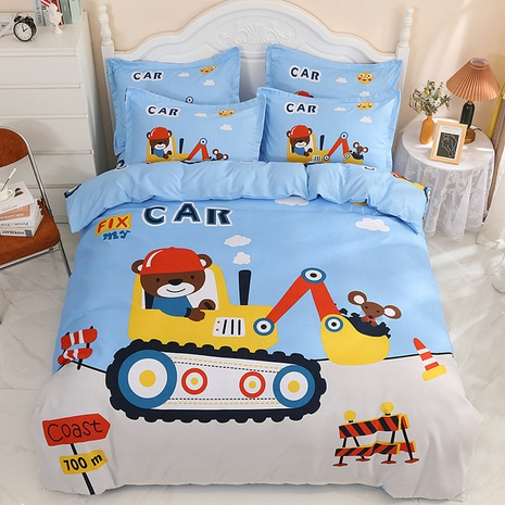 wholesale cartoon excavator pattern printing bedding four-piece set nihaojewelry  NHBWJ402125's discount tags