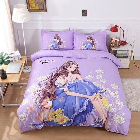 wholesale purple cartoon princess pattern printing bedding four-piece set nihaojewelry  NHBWJ402123's discount tags