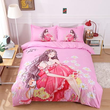 wholesale pink cartoon princess pattern printing bedding four-piece set nihaojewelry  NHBWJ402121's discount tags