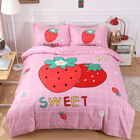 wholesale strawberry pattern printing bedding four-piece set nihaojewelry  NHBWJ402120's discount tags