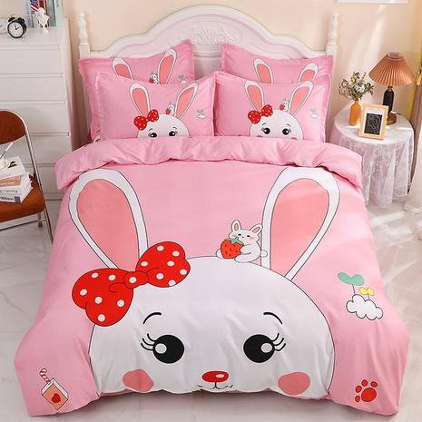 wholesale pink cartoon rabbit pattern printing bedding four-piece set nihaojewelry  NHBWJ402122's discount tags