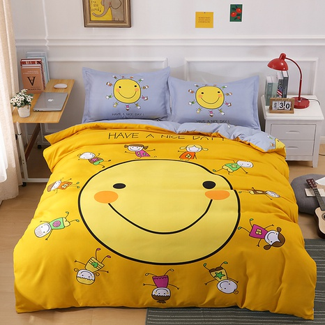 wholesale cartoon smiley face pattern printing bedding four-piece set nihaojewelry  NHBWJ402116's discount tags