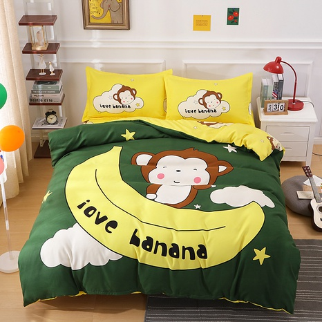 wholesale cartoon monkey banana pattern printing bedding four-piece set nihaojewelry  NHBWJ402117's discount tags