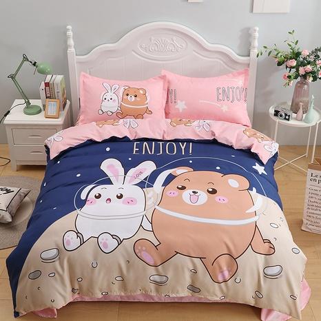 wholesale cartoon rabbit bear space pattern printing bedding four-piece set nihaojewelry  NHBWJ402111's discount tags