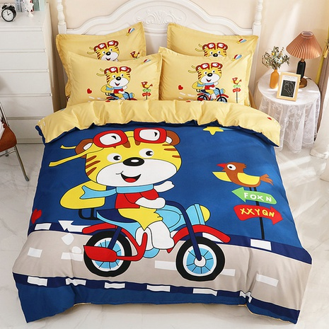 wholesale cartoon tiger pattern printing bedding four-piece set nihaojewelry  NHBWJ402107's discount tags