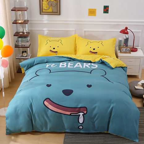 wholesale cartoon bear letter pattern printing bedding four-piece set nihaojewelry  NHBWJ402108's discount tags