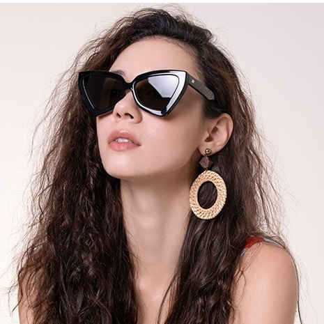 new cat eye irregular frame solid color leopard sunglasses wholesale nihaojewelry NHLMO401892's discount tags