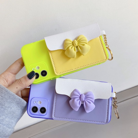 Fluorescent bowknot card holder mobile phone case wholesale Nihaojewelry NHKI401899's discount tags