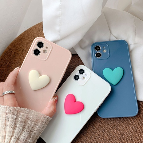 Straight side frame candy color heart mobile phone case wholesale Nihaojewelry NHKI401900's discount tags