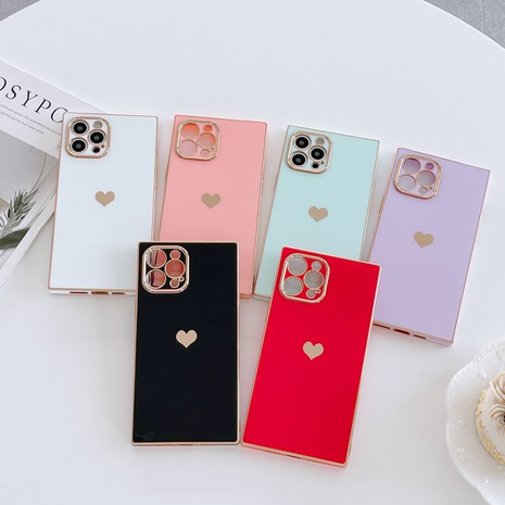 solid color square heart mobile phone protective cover wholesale Nihaojewelry NHKI401902's discount tags