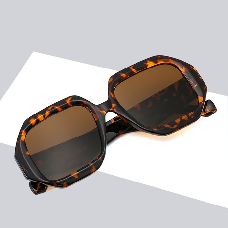 fashion polygonal candy color glasses leopard sunglasses wholesale nihaojewelry NHBA401938's discount tags