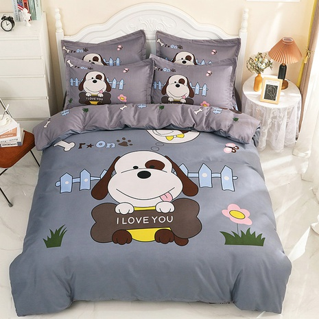 wholesale cartoon dog pattern printing gray bedding four-piece set nihaojewelry  NHBWJ402103's discount tags
