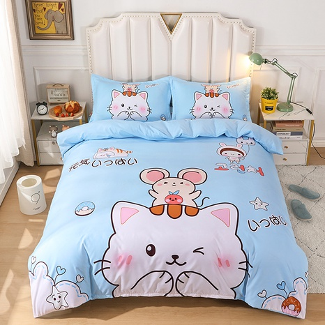 wholesale cartoon cat pattern printing bedding four-piece set nihaojewelry  NHBWJ402101's discount tags