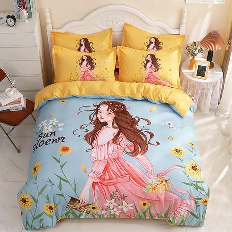 wholesale cartoon princess pattern printing green bedding four-piece set nihaojewelry  NHBWJ402099's discount tags