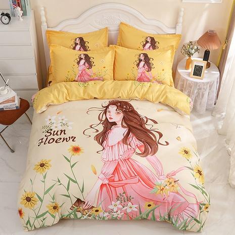 wholesale cartoon princess pattern printing yellow bedding four-piece set nihaojewelry  NHBWJ402096's discount tags
