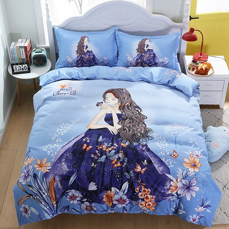 wholesale cartoon princess pattern printing blue bedding four-piece set nihaojewelry  NHBWJ402094's discount tags