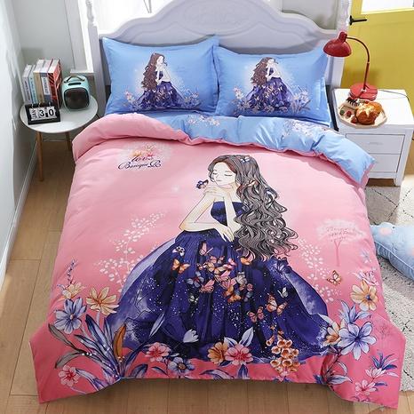 wholesale cartoon princess pattern printing pink bedding four-piece set nihaojewelry  NHBWJ402093's discount tags