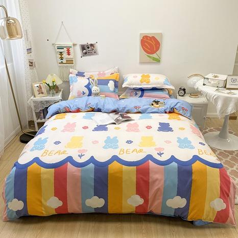 cartoon rainbow color geometric pattern printing bedding four-piece set wholesale nihaojewelry  NHGAD402092's discount tags
