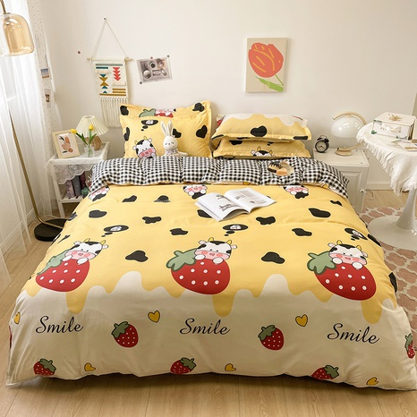 cartoon strawberry cow pattern printing bedding four-piece set wholesale nihaojewelry  NHGAD402089's discount tags