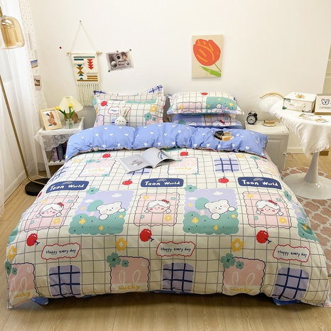 cute cartoon plaid bear pattern printing bedding four-piece set wholesale nihaojewelry  NHGAD402088's discount tags
