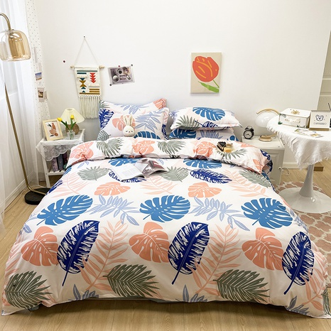 contrast color leaves pattern printing bedding four-piece set wholesale nihaojewelry  NHGAD402087's discount tags