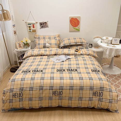 plaid stripe letter pattern printing bedding four-piece set wholesale nihaojewelry  NHGAD402085's discount tags
