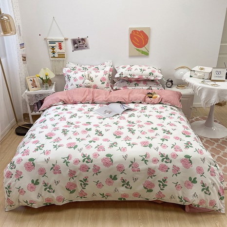 pink small flower pattern printing bedding four-piece set wholesale nihaojewelry  NHGAD402084's discount tags