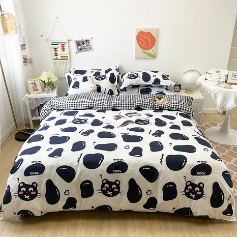 cartoon hit color cat pattern printing bedding four-piece set wholesale nihaojewelry  NHGAD402083's discount tags