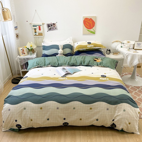 contrast color wave stripe pattern printing bedding four-piece set wholesale nihaojewelry  NHGAD402082's discount tags