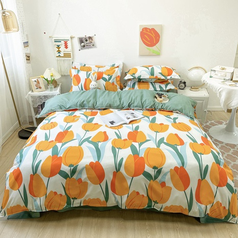 tulip pattern printing bedding four-piece set wholesale nihaojewelry  NHGAD402081's discount tags