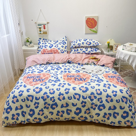wholesale heart letter floral pattern printing bedding four-piece set nihaojewelry  NHGAD402150's discount tags