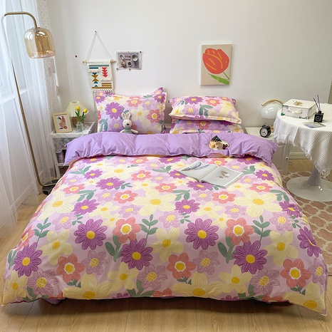 wholesale purple flower pattern printing bedding four-piece set nihaojewelry  NHGAD402149's discount tags