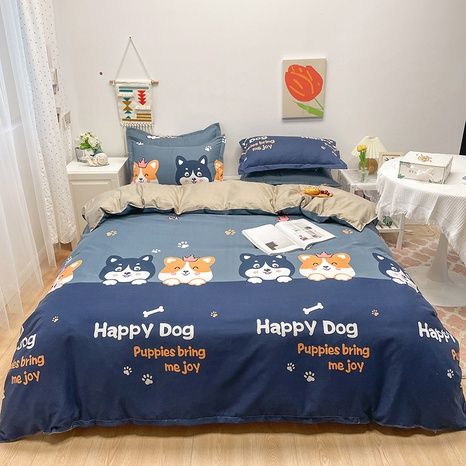 wholesale cartoon dog letter pattern printing bedding four-piece set nihaojewelry  NHGAD402151's discount tags