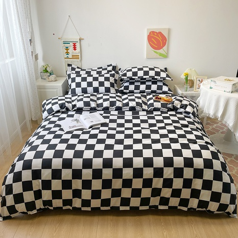 wholesale black plaid pattern printing bedding four-piece set nihaojewelry  NHGAD402152's discount tags