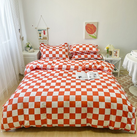 wholesale red plaid pattern printing bedding four-piece set nihaojewelry  NHGAD402148's discount tags