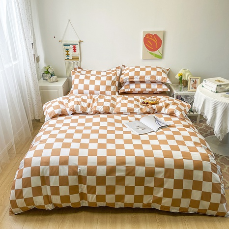 wholesale brown plaid pattern printing bedding four-piece set nihaojewelry  NHGAD402147's discount tags